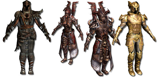 From left to right: Rare Leather Armor (in game drop), Draconic Female Armor (for Kickstarter supporters), Draconic Male Armor (for Kickstarter supporters), and Dragon Slayer Plate Armor (dragon raid loot).