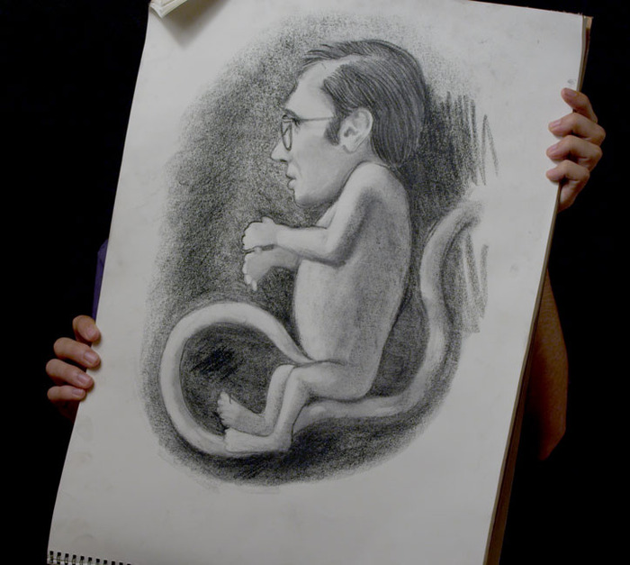 Illustration of the main character as a fetus, by Karl's dad.