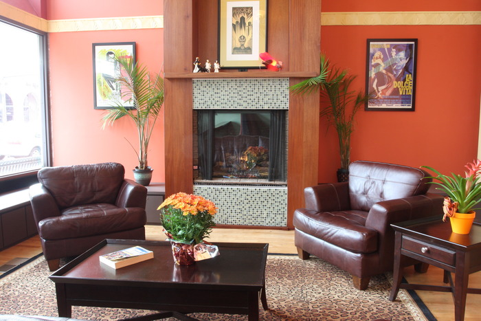 Our comfortable Fireplace Lounge is perfect for parties or a quiet spot for dinner and drinks.