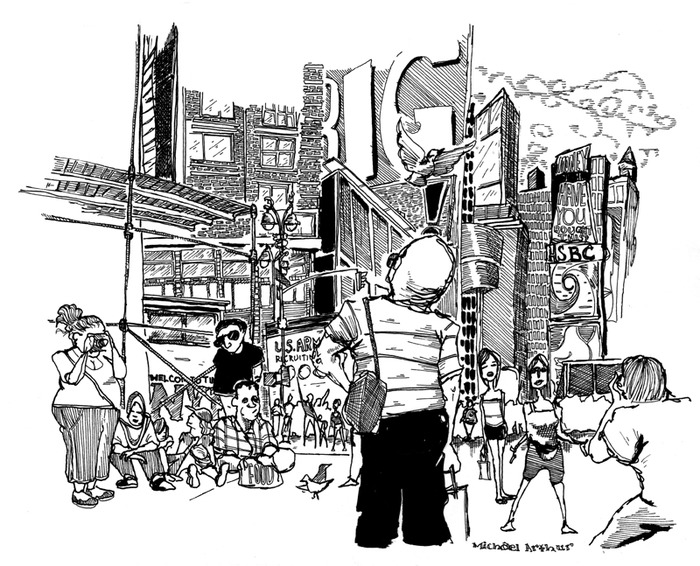 A Michael Arthur drawing of Times Square, as featured in The New York Times Editorial, September, 2009.