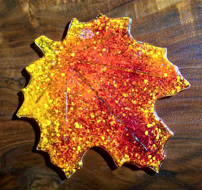 Set of 4 original handmade glass Fall Leaf Coasters.