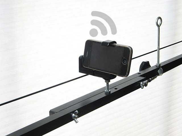 Holes provided in the jib arm for mounting an iPhone or similar. This is to anticipate when live monitoring between devices becomes available