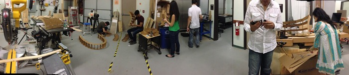 group assembling panels for our first prototype