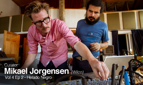 Curator Mikael Jorgensen (Wilco) working with Helado Negro's Roberto Lang, 2013