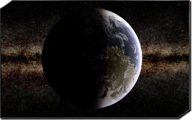(Above: Terran planet in-engine, realtime graphics, clouds are work-in-progress)