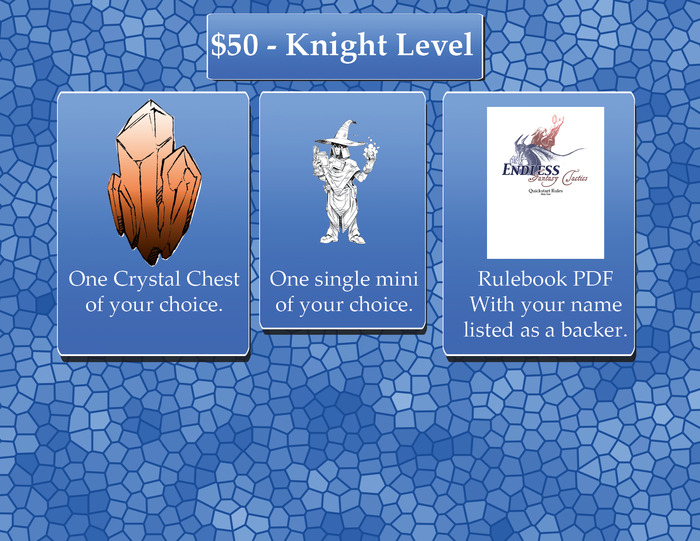 Knight Level: Get everything from Adept Level, Plus a Crystal Chest. Pick your Crystal Chest after the Kickstarter ends from any of the unlocked Crystal Chests! Ships free in the USA, Everywhere else please add $15.