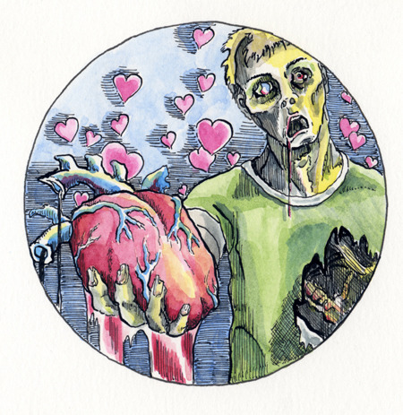 Bleeding Heart Zombie - an original art reward!