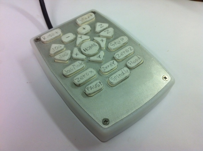 Prototype Mach3 Pendant. The temporary buttons will be replaced with a full rubber keypad with raised letters.