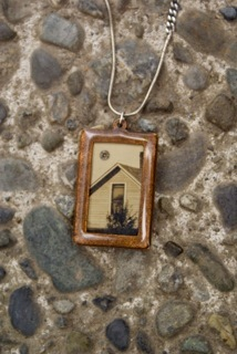 Large Pendant Necklace made with antique Kohring Family photograph. (Reward level $55)