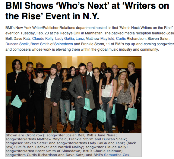 Lanz Pierce , Lady Gaga and other song writers winning the BMI Song Writer On the Rise award