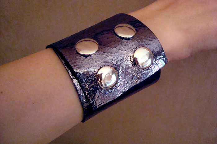 Metallic Leather Cuff Bracelet (snaps showing)