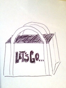 "Idea for the ""TOTAL PANJO"" package tote bag...still working on it, but liking the ""Let's Go"" theme so far"