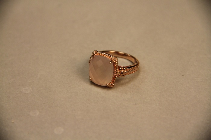 Our sterling silver ring with a pink chalcedony 3 ct cushion stone, set in an 18K rose gold-plated mounting