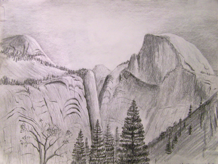 Copy of orginal Half Dome sketch, suitable for framing.