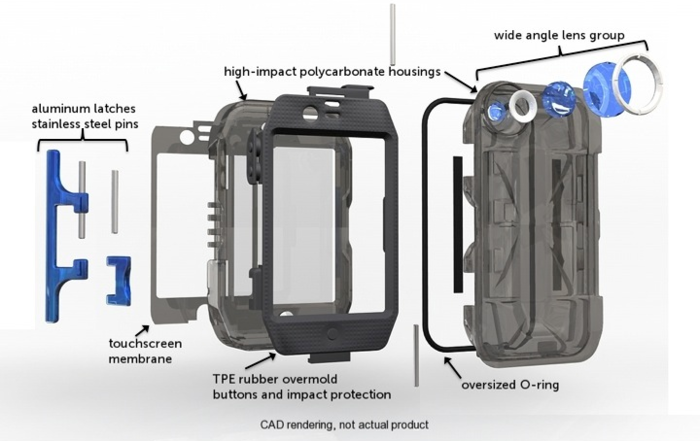 Waterproof and Shockproof:  TPE bumpers absorb shock, oversized o-rings seal out water, aluminum latch locks it tight