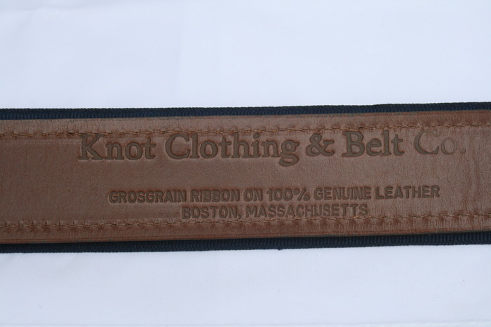 Backside of Leatherback Tabbed Belt with Embossed Hermann Oak Leather