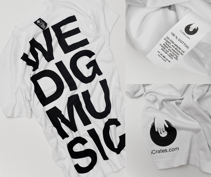 Hand-printed WE DIG MUSIC t-shirts!