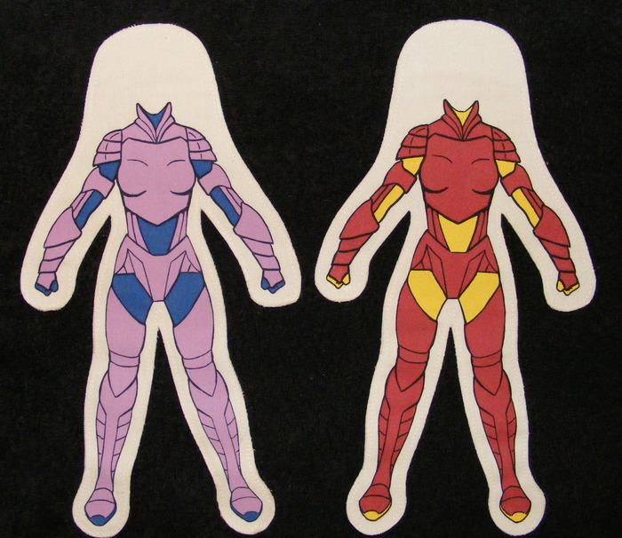 Body styles for 12 inch Female Dolls. Pink/Blue Armor Female, Red/Yellow Armor Female.