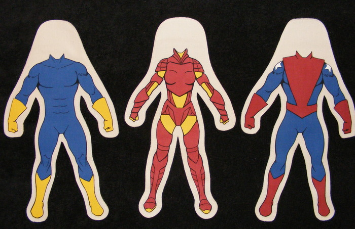 Body styles for 20 inch dolls. Blue/Yellow Male, Red/Yellow Female, Patriot Male.
