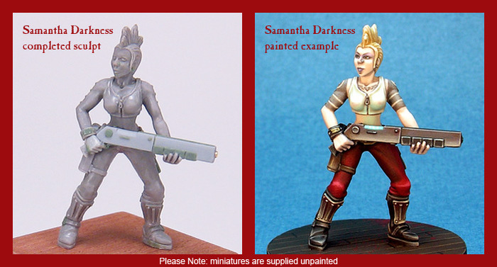 Samantha, the first miniature of the set.  Please note that the miniatures are 30mm scale, supplied unassembled and unpainted, and cast in lead-free white metal with a plain plastic base.