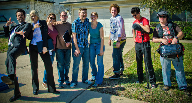 Brian Villalobos, Jolyn Janis, Lisa Talley Marchese (Script Supervisor), Shawn E. Marchese (Assistant Director), Ben Moody (Director), Rachel Moody (Producer), Josh Jones (DP), Alan Koda (Boom Operator), Clayton De Wet (Location Mixer). Photo by Roy Moore