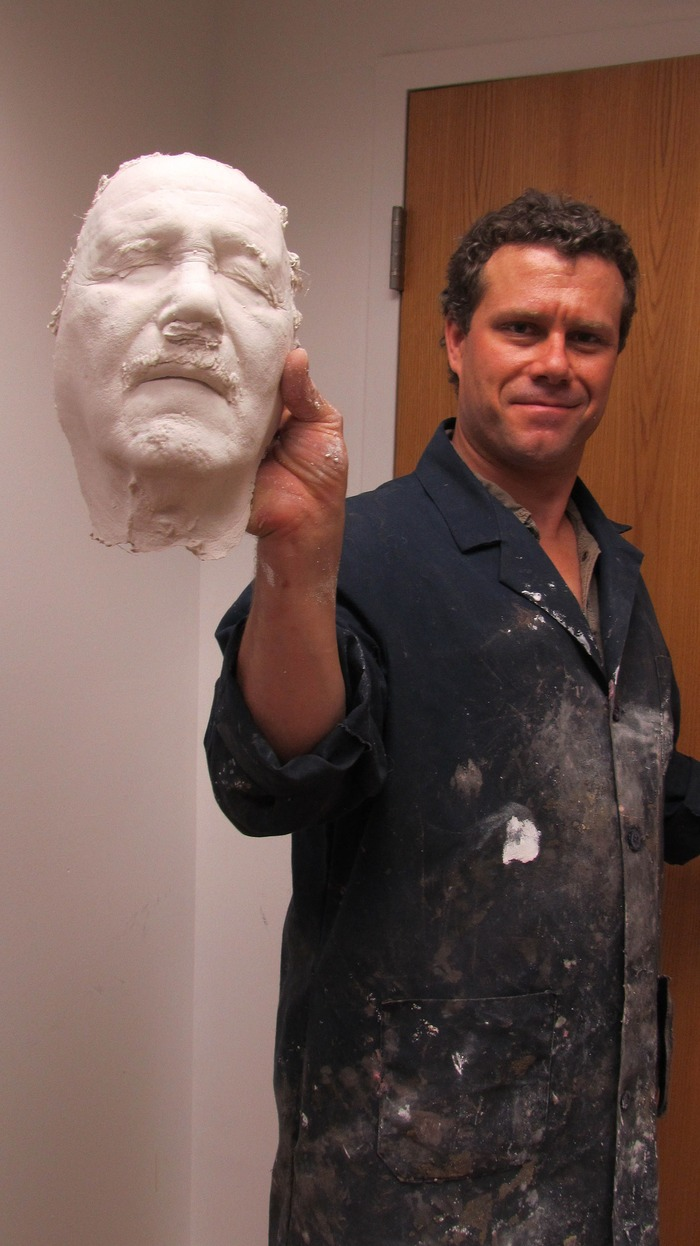Jeff holds up the Fred's life cast having just separated it from the mold
