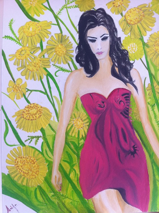 Girl in sunflower field - the first of the collection, June 2011