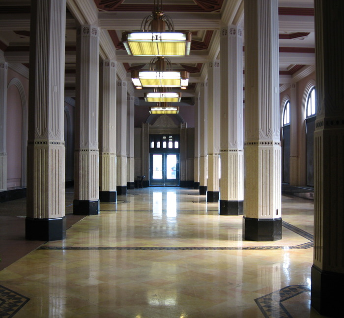 Our beautiful art deco space, looking toward the main entrance.