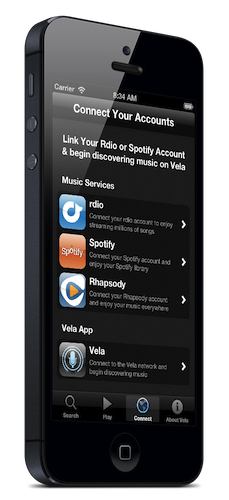 Vela is the first app that uses voice technology with on-demand music.  Not even with Siri, can you voice request music from these services.  Siri only works with purchased songs downloaded on your phone from iTunes.