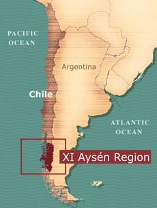 The future Patagonia National Park is located in the Aysén Region of Chile. Map courtesy of Conservación Patagónica.
