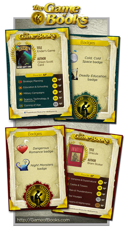 Example Book Cards from The Game of Books