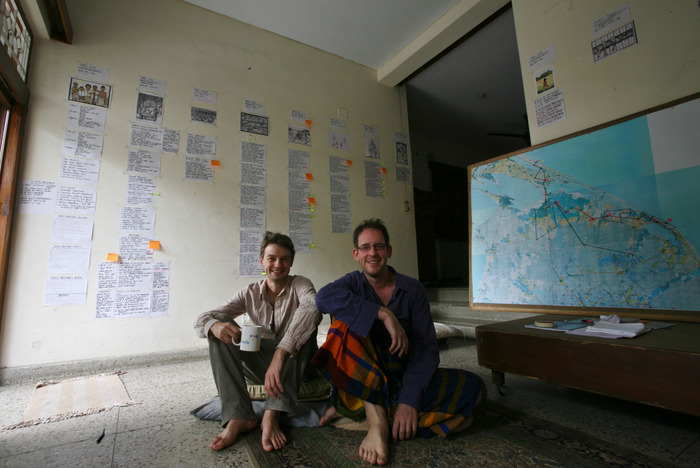Lindsay and I beginning to storyboard in India, 2012