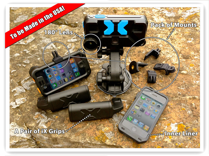 iXtreme Case Reward Pack. You get One Limited Edition iXtreme Case (color not shown here), One Liner, Two Grips, Five Mounting Adapters (suction mount and iPhone® not included)