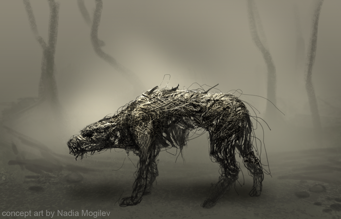 "concept art of ""demon dog"", one of the waking visons that haunt the vagrant."