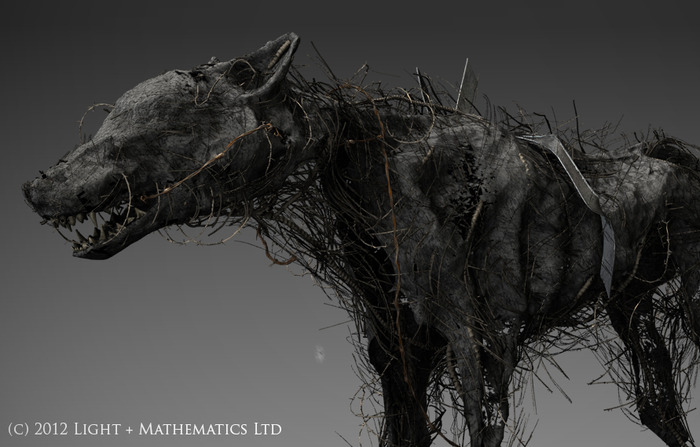 "3D render  of ""demon dog"", one of the waking visons that haunt the vagrant."