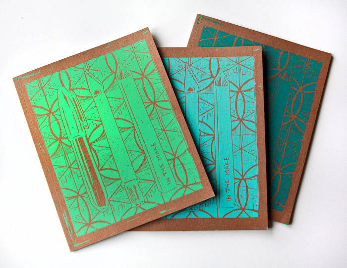 8x10 inch notebooks with original woodcut print cover by Imin Yeh
