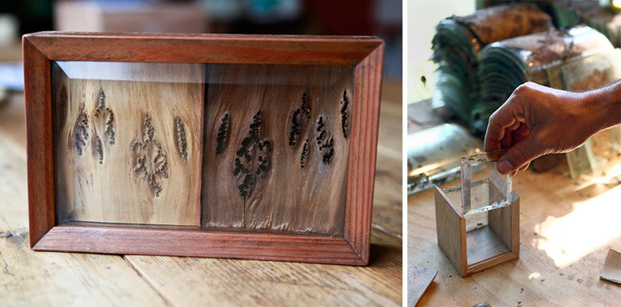 Ido's redwood shadowbox and another piece in progress.