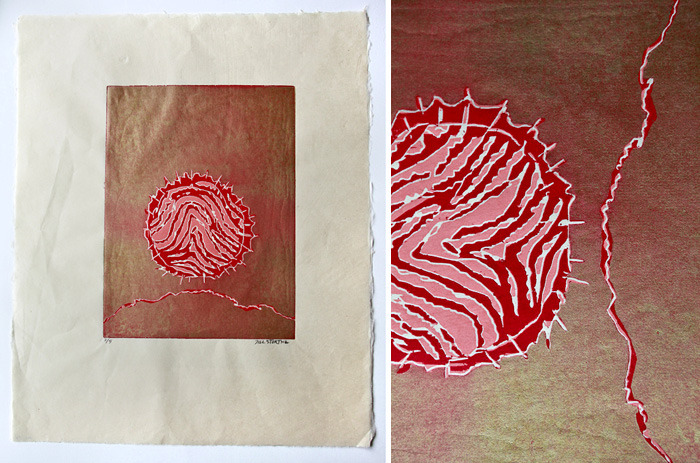 Jill's woodcut print and a detail view of it.