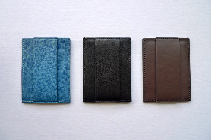 New colors. Slate Blue Textured (left), Black Nappa (middle), Dark Chocolate Nappa (right).