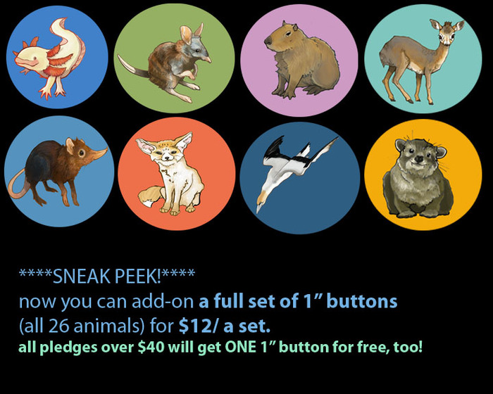 "AAAH!! Brand new! Now you can get a FULL SET of 1"" pinback buttons!"