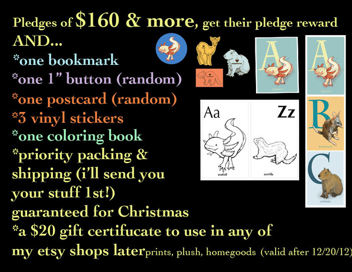 And whoa... for pledges of $160 & more, you receive all of the above PLUS, your orders will ship FIRST, so you'll have them before Christmas AND you'll get a coupon code that will allow you to spend $20 in any of my online shops (valid in the 2013)