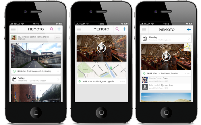 Concept images of the iPhone app. (Photos taken with a iPhone4S). From left: Timeline view with notifications, Map display, Social timeline view