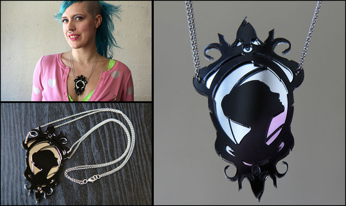$55 reward tier: Lady of the House of Love cameo necklace plus assorted downloads. Photos: Nadya Lev. Model: Tess.