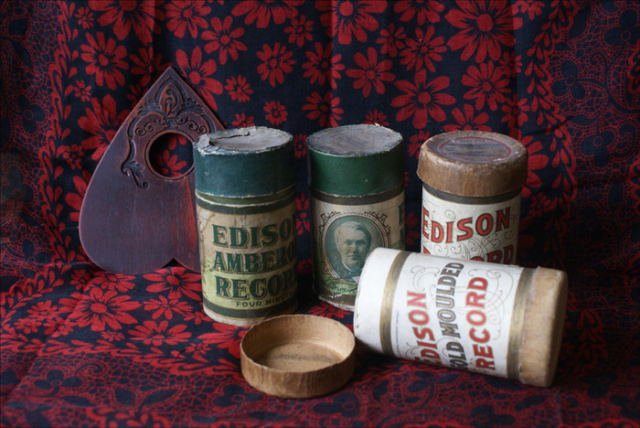 19th Century wax cylinder canisters that will serve as containers the $140 tier (THE EDISON) which is a wee smorgasbord of goodies both corporeal and non. (Meaning digital!) Photo: M.S. leDespencer