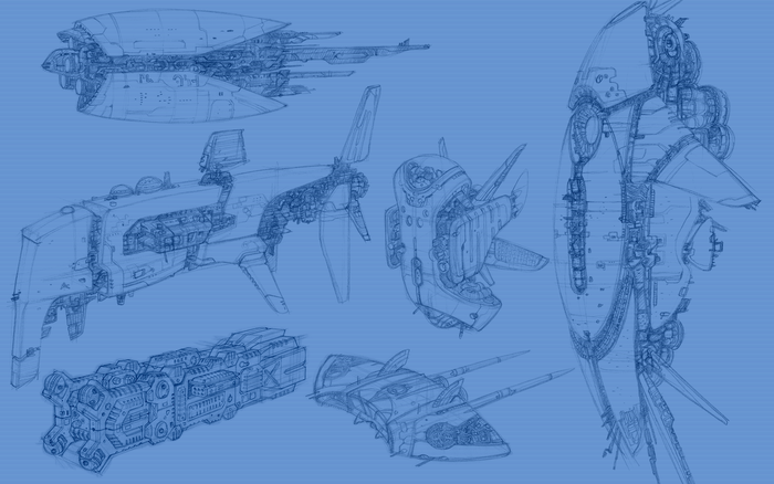 Some concept capital ships and cruisers.