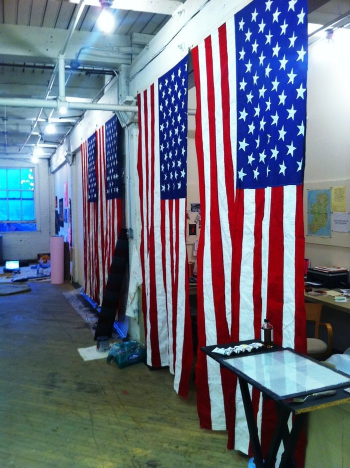 American flags lined up in one of my Chicago studios.