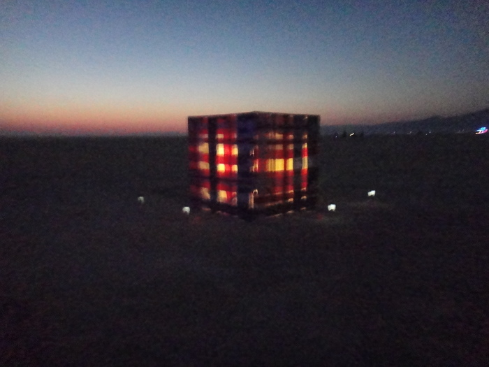 """American Cube"" at dusk."