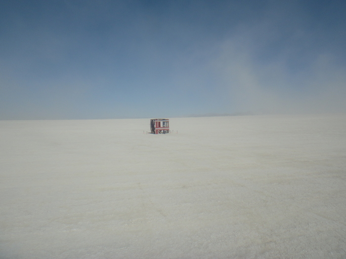 """American Cube"" during its early construction showing the vastness of the desert."