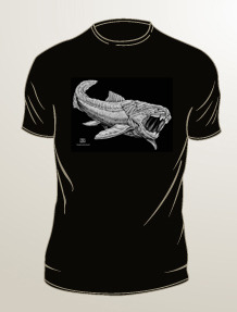 Dunkleosteus: gray ink on black t-shirt (available in mens/unisex sizes S, M, L, XL, 2XL, 3XL)