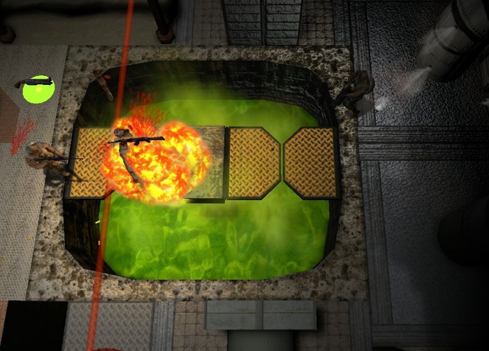 Dissolve your enemy in the toxic waste trap!